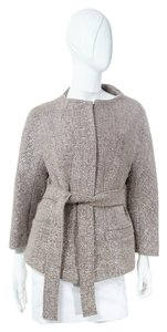 Escada Taupe Metallic Boucle Knit Collarless Beige & Silver Jacket