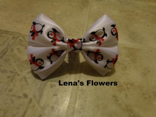Lena's Flowers Christmas Penguins Character hair bow for girls. White satin with Penguins hair bow on alligator clip