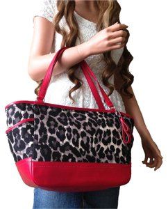 Coach Ocelot Handbag Leopard Tote in black gray red