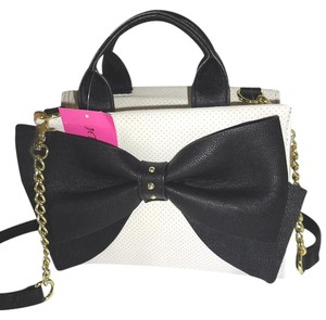 Betsey Johnson Cross Body Perforated Faux Leather Satchel in bone/black