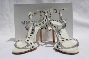 Manolo Blahnik Grommets Leather White Leather Sandals