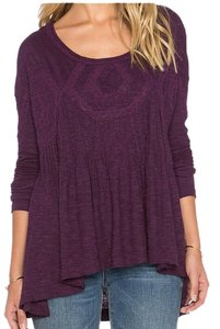 Free People Cut-out Lace Pintuck Swing Boho Top African Violet
