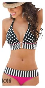 New #1 Selling Bathing Suit In My Closet Black/White/Hot Pink Bikini Tag S/M/L/XL Must See Sz Info Before Buying