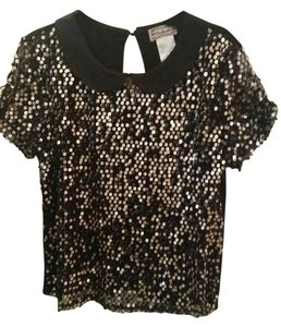 Soulmates Peter Pan Collar Sequined Top Black and gold