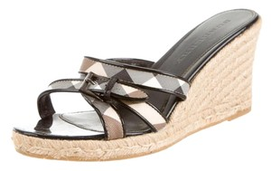 Burberry Nova Check Strappy Woven Plaid Patent Leather Black, Beige Wedges