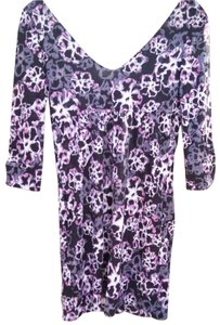 Diane von Furstenberg short dress Black/Pink Empire Waist Floral on Tradesy