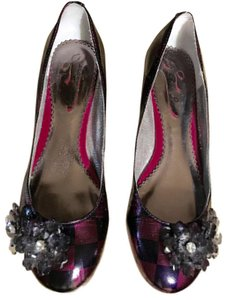 Poetic License Leather Monogram Ballerina Embellished Multi-Color Patent Flats