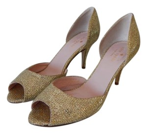Kate Spade Sage Sparkly Open Toe Pump Gold Formal Shoes Wedding Shoes