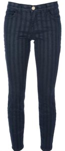 Current/Elliott Metallic Coated Stripe Skinny Jeans-Coated