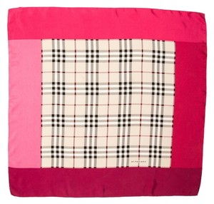 Burberry Pink, beige multicolor Nova Check plaid Burberry silk scarf