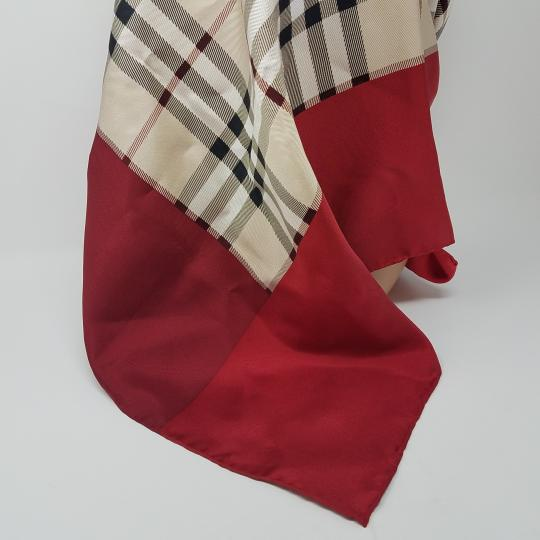 Burberry Pink, beige multicolor Nova Check plaid Burberry silk scarf Image 11