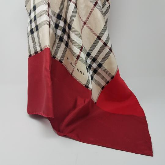 Burberry Pink, beige multicolor Nova Check plaid Burberry silk scarf Image 9