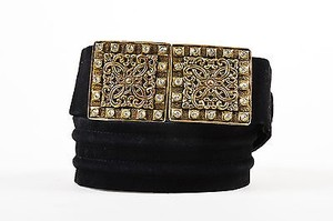 Saint Laurent Yves Saint Laurent Black Brass Tone Suede Rhinestone Plate Belt