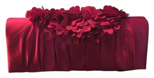 Sondra Roberts Inside Pocket Floral Satin Petals Flower Red / Burgundy Clutch