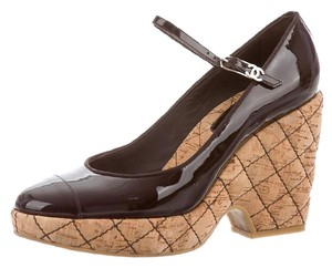 Chanel Patent Leather Quilted Black, Brown Pumps