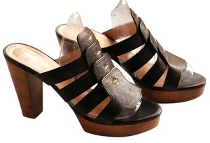 Robert Clergerie Sandals Black with brown wood platform Mules