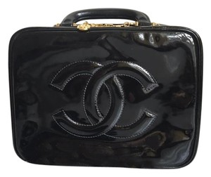 Chanel Vintage Patent Leater 2 Way Satchel in Black