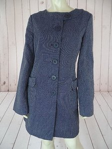 Tulle Anthropologie Coat Navy Blue, White Jacket