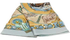 Hermès Hermes Blue Multicolor Chevaux de Trait Silk Scarf