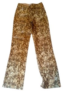 Cache Fitted Straight Pants Snake Skin Leather