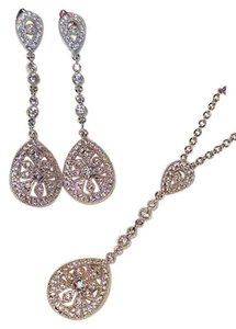 Mico Paved Cz Bridal Necklace Set Platinum Plated