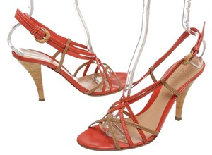 Sergio Rossi Orange and Tan Sandals