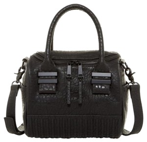 French Connection Faux Leather Removable Strap Satchel in Black