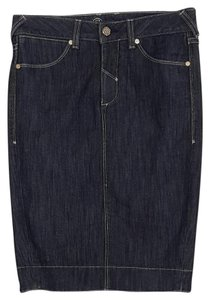 bebe Denim Slit Mini Skirt blue denim
