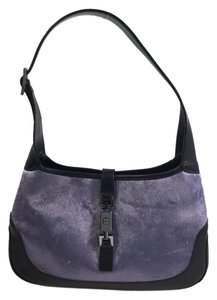 Gucci Jackie O Purple Velvet Black Shoulder Bag