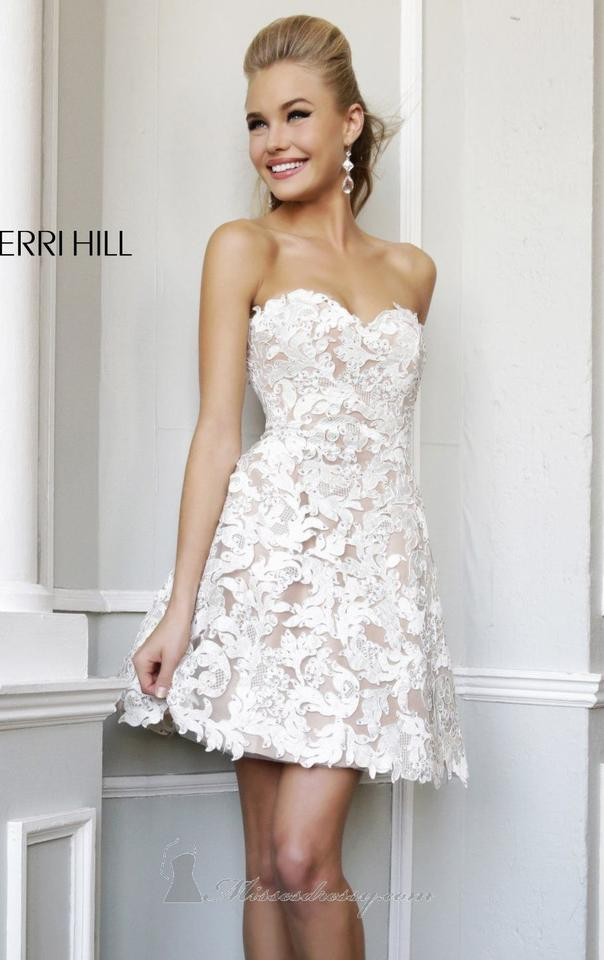 Sherri hill beige white lace overlay and bling feminine for Wedding dress sherri hill