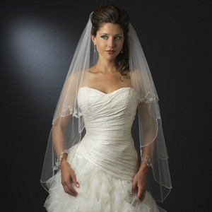 Elegance By Carbonneau White Two Layer Beaded Embroidery Fingertip Wedding Veil