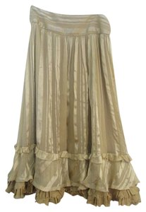 Ralph Lauren Silk Midi Lined Hobo Skirt Gold
