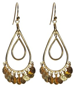 Condemned to Be Free Gold Vermeil Double Teardrop Hammered Disc Chandelier Drop Earrings