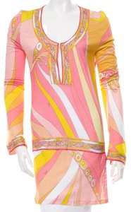 Emilio Pucci Monogram Longsleeve V-neck Top Pink, Yellow