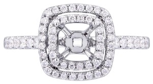 Avi and Co 0.42 cttw Round Diamond Double Halo Engagement Semi-Mounting 18K White Gold