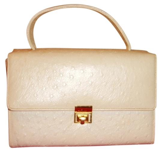 Bellestone Vintage Kelly Handbag Flap Ostrich Bumps Satchel in White