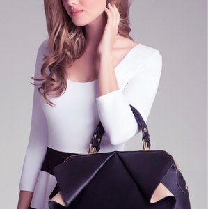 bebe Satchel in Black/Tan