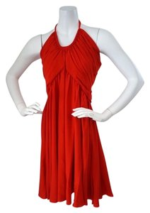 Cadeau Cadeau Red Silk Maternity Halter Swing Dress Summer or Evening Size Large