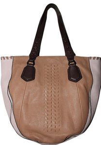 orYANY Coral Beige Pink Peach Tote in Nude / Saddle / Dk Brown