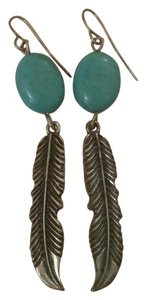 PacSun Feather turquoise earrings