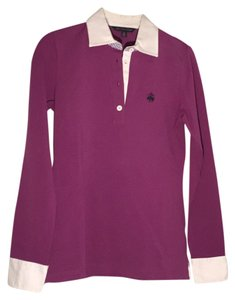 Brooks Brothers Button Down Shirt Purple white collar