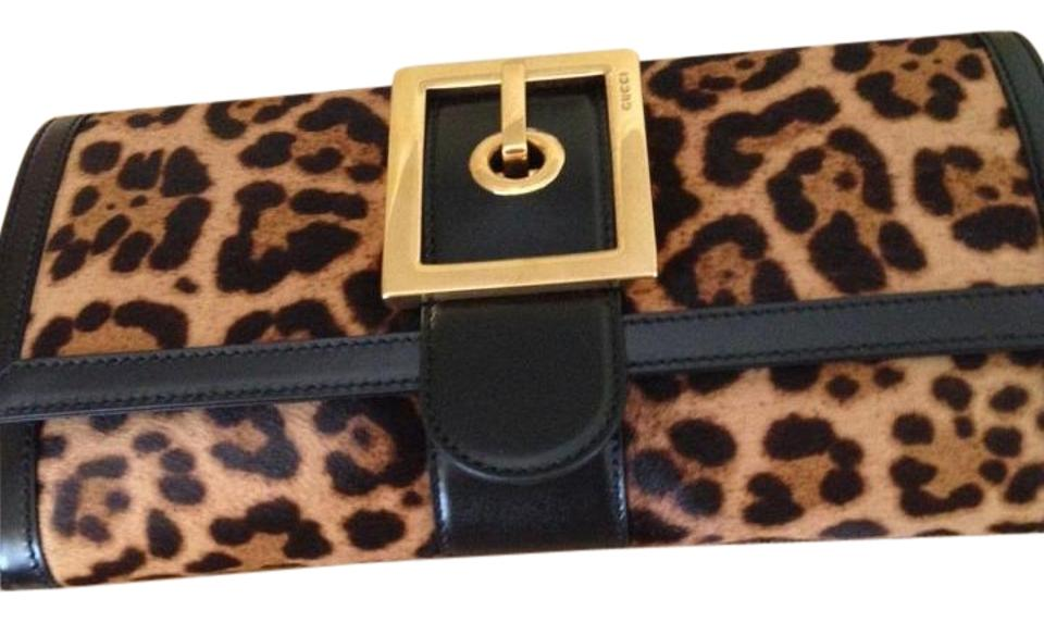 5021e1175 Gucci Lady Buckle Leopard Animalier Jaguar Printed Leather Clutch ...