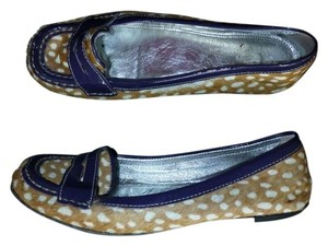 Boden Pony Hair Leather Loafers Moccasins Animal Print Brown Purple Flats
