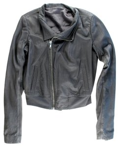 Rick Owens Leather Asymmetrical Zipper Gray Leather Jacket