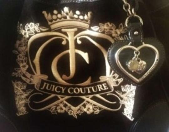 Juicy Couture Tote in Black velour daydreamer w/ black ribbon & cream accents