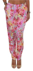 Gaudi Made In Italy Wide-leg Summer Silky Light Trousers Relaxed Pants Pink