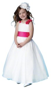 Alfred Angelo White And Pink Alfred Angelo Flower Girl Dress Dress