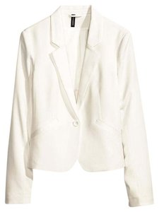 H&M Black Notch Jacket Crop Soft White Blazer