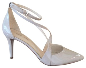 Nine West Nude Patent Stiletto Crisscross Strap Beige Pumps