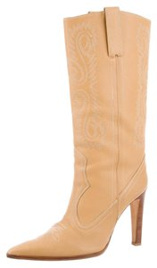 Manolo Blahnik Leather Cowboy Tan leather Boots